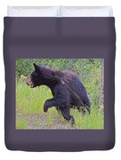 Lunging Black Bear Near Road In Grand Teton National Park-wyoming   Duvet Cover