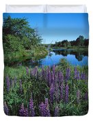 Lupin And Lake-sq Duvet Cover