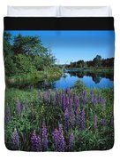 Lupin And Lake Duvet Cover