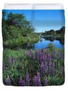 Lupin And Lake-v Duvet Cover