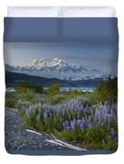 Lupine And Mount Elias Duvet Cover