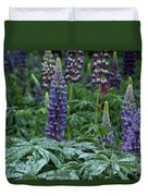 Lupines In The Rain Duvet Cover