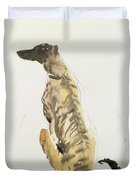 Lurcher Sitting Duvet Cover by Lucy Willis