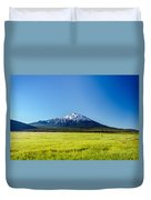 Lush Green Meadow And Mount Bachelor Duvet Cover