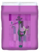 Lutgarde's Bird - 061109106-purple Duvet Cover