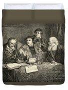Luther Melancthon Pomeranus And Cruciger Translating  Duvet Cover