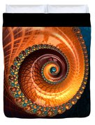 Luxe Fractal Spiral Brown And Blue Duvet Cover