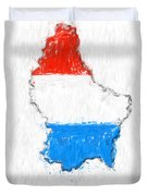 Luxembourg Painted Flag Map Duvet Cover