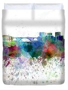 Luxembourg Skyline In Watercolor On White Background Duvet Cover