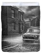 Lye Rain Storm, Morris Mini Car - 1960's    Ref-246 Duvet Cover