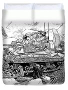 M 4 Sherman Break Out From Normandy Duvet Cover