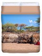 Maasai Huts In Their Village In Tanzania Duvet Cover