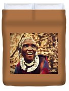Maasai Old Woman Portrait In Tanzania Duvet Cover