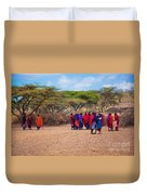 Maasai People And Their Village In Tanzania Duvet Cover