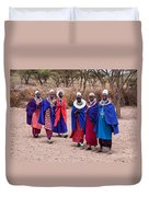Maasai Women In Front Of Their Village In Tanzania Duvet Cover