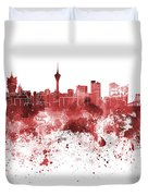 Macau Skyline In Red Watercolor On White Background Duvet Cover