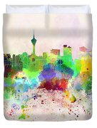 Macau Skyline In Watercolor Background Duvet Cover