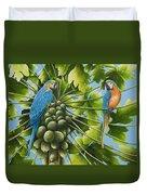 Macaw Parrots In Papaya Tree Duvet Cover
