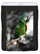 Macaw With Black And White Background Duvet Cover