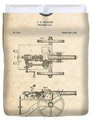 Machine Gun - Automatic Cannon By C.e. Barnes - Vintage Patent Document Duvet Cover