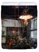 Machine Shop With Lantern Duvet Cover