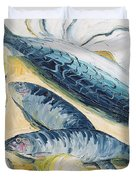 Mackerel With Oysters And Lemons, 1993 Oil On Paper Duvet Cover