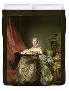 Madame De Pompadour At Her Tambour Frame Duvet Cover