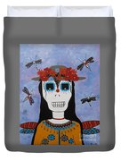 Madame Dragonfly Day Of The Dead Duvet Cover