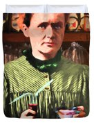 Madame Marie Curie Shaking Up A Killer Martini At The Swank Hipster Club 88 20140625 With Text Duvet Cover
