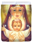 Madonna And Baby Jesus Duvet Cover by Zorina Baldescu
