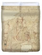 Madonna And Child Enthroned, Drawing For A Fresco Sinopia On Paper Duvet Cover