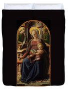 Madonna And Child Enthroned With Two Angels Duvet Cover