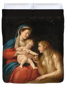 Madonna And Child With Mary Magdalene  Duvet Cover