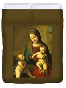 Madonna And Child With The Infant Saint John Duvet Cover by Antonio Allegri Correggio