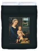 Madonna And Child With The Milk Soup Duvet Cover