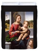 Madonna And Child With The Young Saint John The Baptist Duvet Cover
