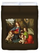 Madonna Of The Rocks Duvet Cover