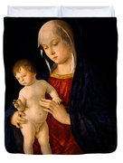 Madonna With The Child Blessing Duvet Cover by Giovanni Bellini