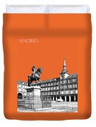 Madrid Skyline Plaza Mayor - Coral Duvet Cover