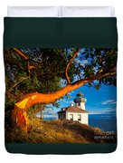 Madrone And Lighthouse Duvet Cover