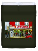 Magazin Liberal Dress Shop On Rue Notre Dame Montreal St.henri City Scenes Carole Spandau Duvet Cover