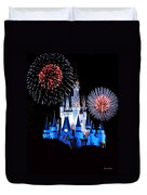 Magic Kingdom Castle In Blue With Fireworks Duvet Cover