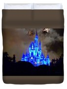 Magic Kingdom Castle In Deep Blue With Fireworks Duvet Cover