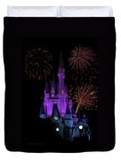 Magic Kingdom Castle In Purple With Fireworks 02 Duvet Cover