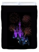 Magic Kingdom Castle In Purple With Fireworks 03 Duvet Cover