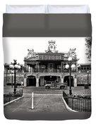 Magic Kingdom Train Station In Black And White Walt Disney World Duvet Cover