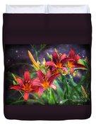 Magical Evening Daylilies Duvet Cover