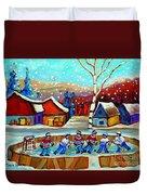 Magical Pond Hockey Memories Hockey Art Snow Falling Winter Fun Country Hockey Scenes  Spandau Art Duvet Cover