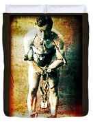 Magician Harry Houdini In Chains   Duvet Cover by Jennifer Rondinelli Reilly - Fine Art Photography
