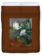 Magnolias On Brass Duvet Cover